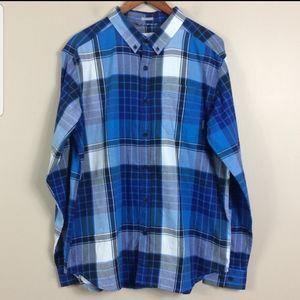 Columbia Blue Plaid Long Sleeve Button Down Shirt